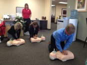 Derek, Kim, and Steph give CPR