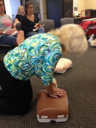 Laura delivers chest compressions