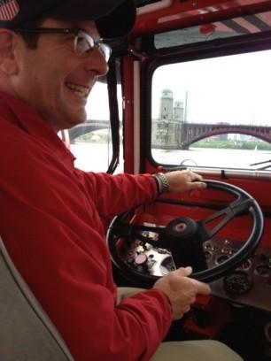 Brian Braden drives the duck